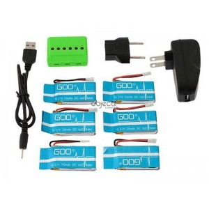 Pack 6 batteries LiPo 1S 3,7V 720mAh avec chargeur 6 ports 6 IN 1 WSX/MX