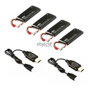 Pack 4 batteries LiPo 2S 7,4V 610mAh 15C avec 2 chargeurs USB HUBSAN H502E/S