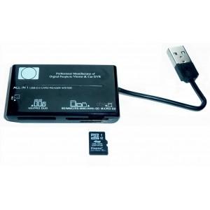 Lecteur de carte mémoire USB 2.0 SD, MMC, RS-MMC, MINI-SD, MICRO SD, MS, PRO DUO, M2
