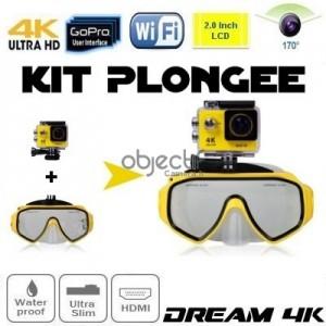 Kit plongée masque et caméra sport Ultra HD 4K WiFi étanche DREAM DIVING 4K